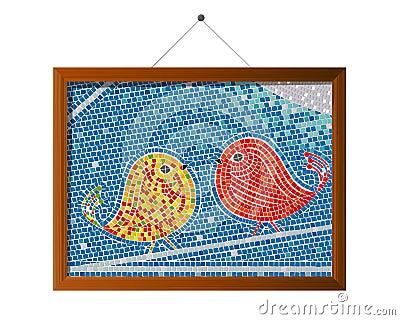 Mosaiken belägger med tegel fåglar