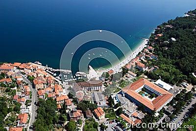 Moscenicka draga bay and long natural grit sand beach air photo in Croatia Stock Photo