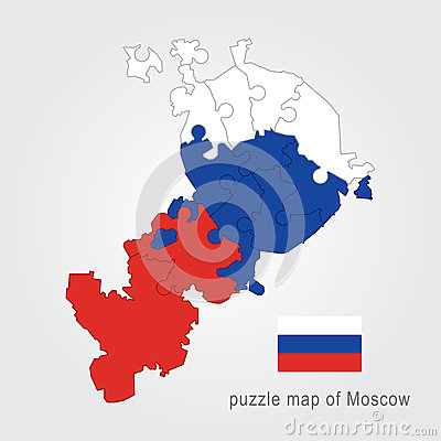 Free Moscow Administrative Map - Puzzle Royalty Free Stock Photos - 83835168