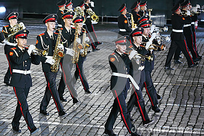 Orchestra of Moscow Suvorov Military Music College at Military Music Festival Editorial Photography