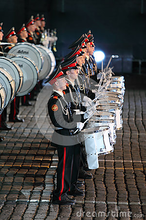 Rows of drummers of orchestra of Moscow Suvorov Military Music College Editorial Image