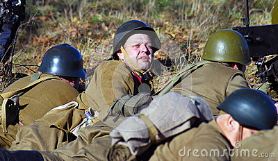 Moscow battle historical reenactment Editorial Stock Photo