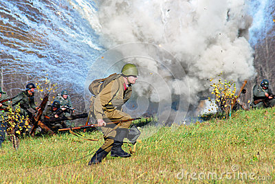 Moscow battle historical reenactment Editorial Photo