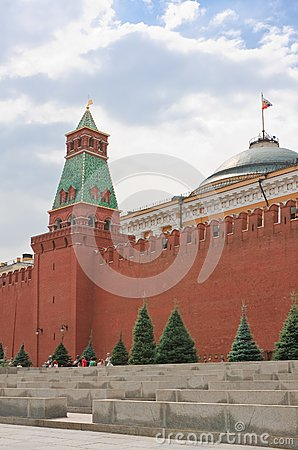 Moscow.  Building dome of the Senate and Senate Tower Editorial Photography