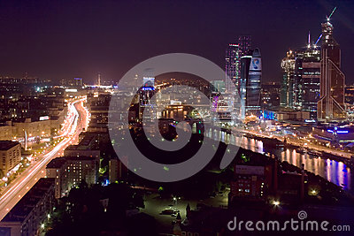 Moscow city aerial night Editorial Image