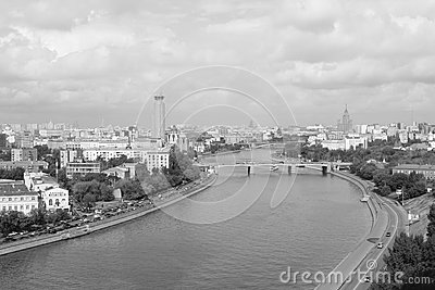 Moscow city b/w panorama