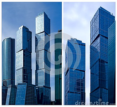 Moscow City business center. Collage.