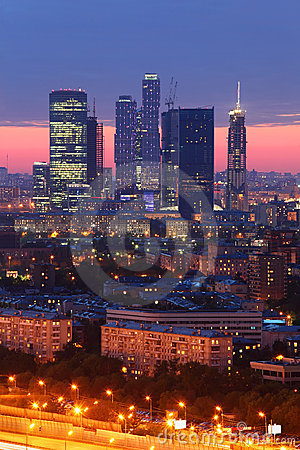 Moscow City complex of skyscrapers at evening