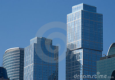 Moscow city modern office buildings over blue sky