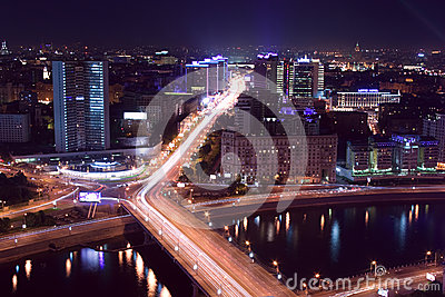 Moscow city night Editorial Photography