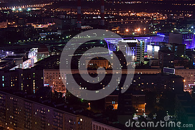 Moscow city night aerial