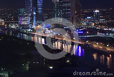 Moscow city night aerial Editorial Stock Image