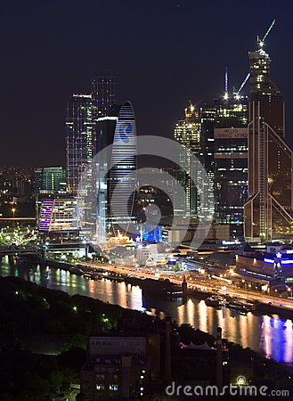 Moscow city night skyscrapers Editorial Stock Image