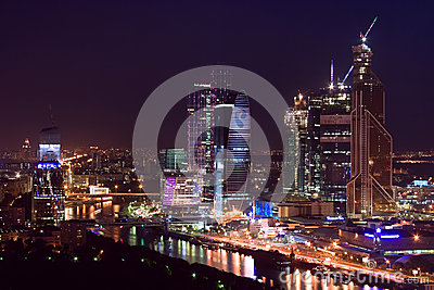 Moscow city night skyscrapers Editorial Photo