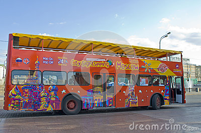 Moscow, city sight-seeing bus Editorial Stock Image