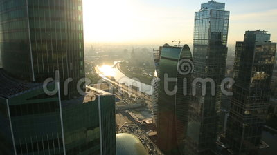 Moscow City skyscrapers. Aerial view