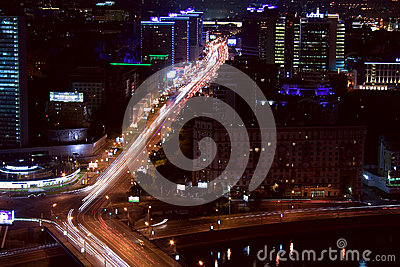 Moscow city street night Editorial Image