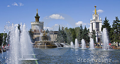 Moscow, fountain in exhibition centre