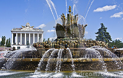 Moscow, fountain, national exhibition centre