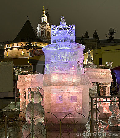 Moscow, ice palace on Christmas Editorial Stock Image