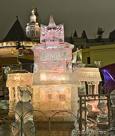 Moscow, ice palace on Christmas Editorial Photography