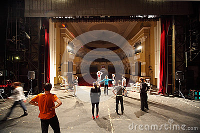 Actors rehearse at Palace on Yauza Editorial Stock Image