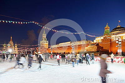People at GUM-Skating rink on Red Square Editorial Image