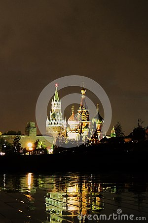 Free Moscow Kremlin And Saint Basils Cathedral At Night. Royalty Free Stock Image - 104601216