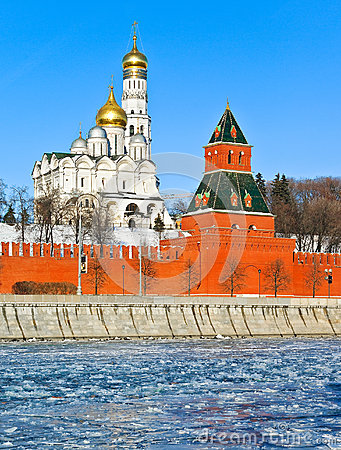 Moscow Kremlin in cold winter