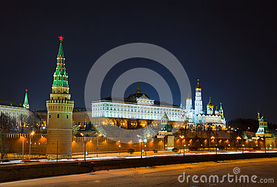 Moscow Kremlin at night, Editorial Image