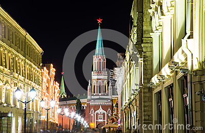 Moscow Kremlin by night,