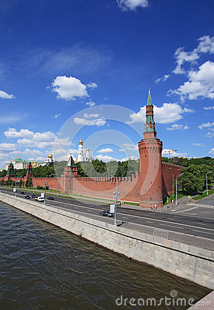 The Moscow Kremlin over river