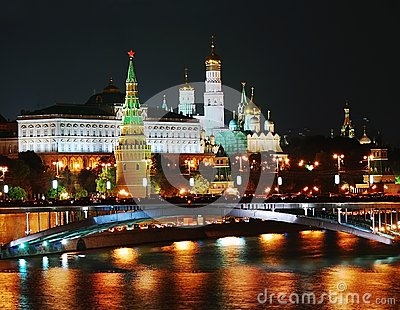Moscow Kremlin panorama at night