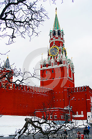 Moscow Kremlin. Spasskaya Tower, clock. Editorial Stock Photo