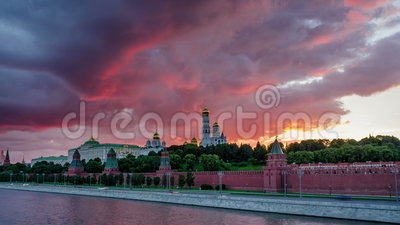 Moscow Kremlin at sunset with panning motion 4K time lapse stock video footage