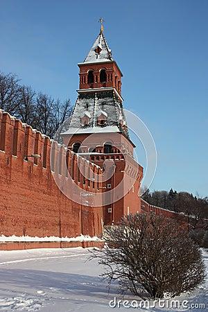 Moscow. Kremlin wall. Blagoveshchenskaya tower.