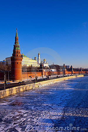 Moscow Kremlin in winter day. Russia