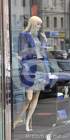 Moscow. A mannequin woman in the shop window Editorial Image