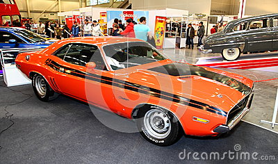 MOSCOW - MARCH 9: Dodge Challenger is exposed at the XXI Interna Editorial Photography