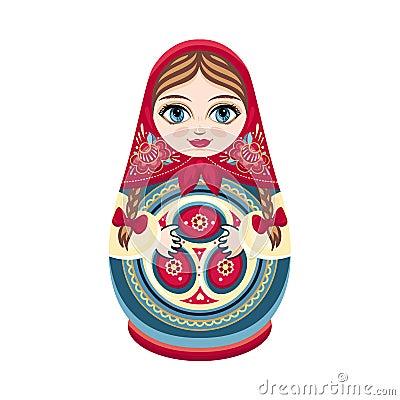 Free Moscow Matreshka. Color Figurine Design Element. Slavic Souvenir. Russia Handmade Decoration. Stock Image - 119279901