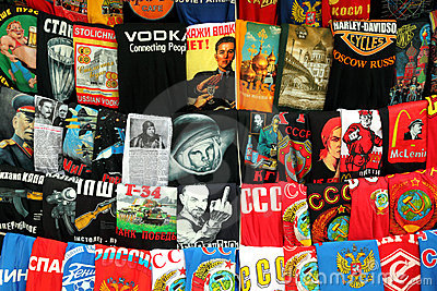 MOSCOW - MAY 15: shirts with russian prints Editorial Stock Photo