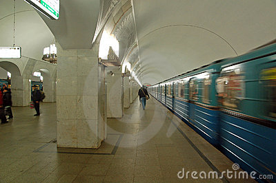 Moscow metro,station Pushkinskaya,train