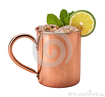 Free Moscow Mule In A Copper Mug Royalty Free Stock Photo - 52512935