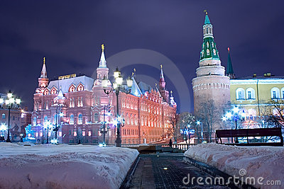 Moscow night historical landmark