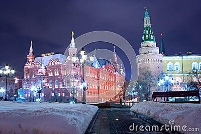 Moscow night historical landmark