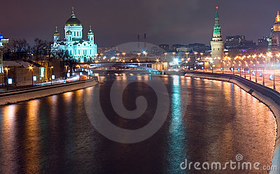 Old Moscow architecture night Editorial Stock Image