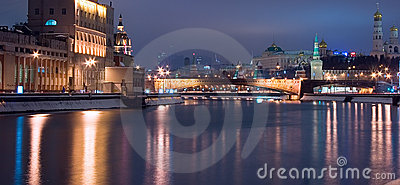 Moscow night historic cityscape