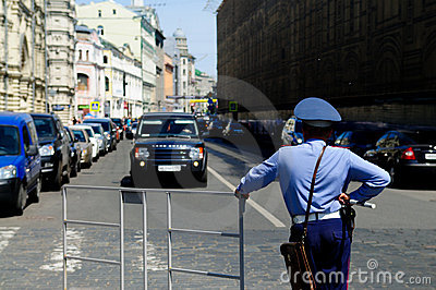 Moscow policeman on duty Editorial Stock Photo