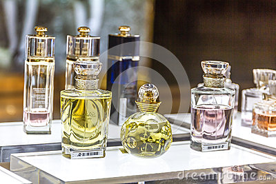 MOSCOW, RUSSIA - April 11, 2012 - Parfume corner in large shopping center Editorial Stock Photo