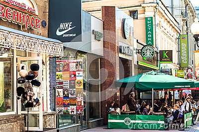 Stores and restaurants on Old Arbat Editorial Image